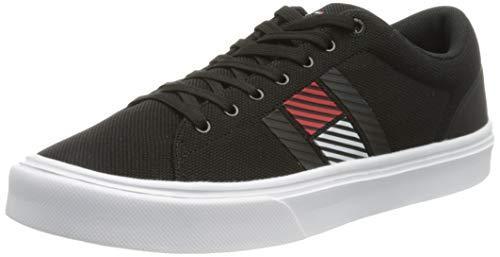 Tommy Hilfiger Herren Lightweight Stripes Knit Sneaker, Schwarz, 44 EU