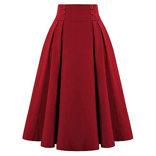 Mujer Invierno Estilo Vintage Elástico Damas Una Línea Blackgreen Flare Moda Falda con Bolsillo
