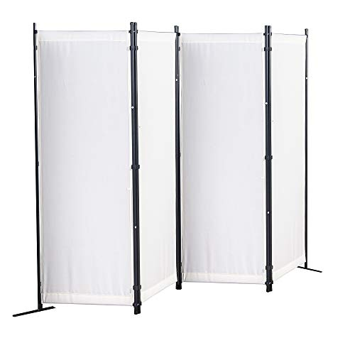 UMI by Amazon Paravent 4 Teilig Raumteiler 170 x 220 cm Trennwand Stellwand Sichtschutz(Weiß)