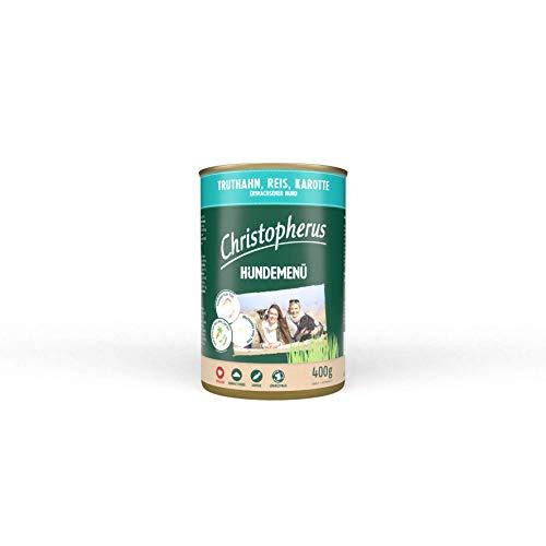 Christopherus Hundemenü, Mit Truthahn, Reis, Karotte, Vollnahrung für erwachsene Hunde, Nassfutter, 6 x 400 g