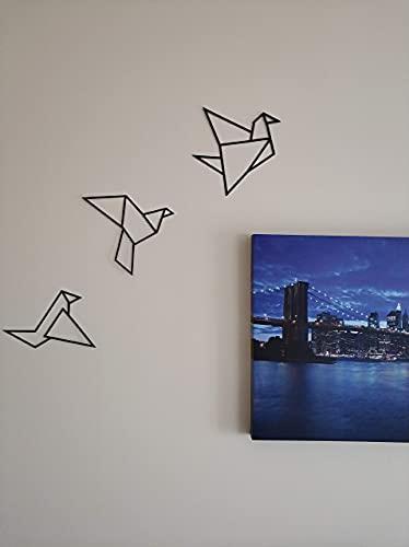 Pàjaros Origami - Decoración Pared - Walldecor - Negro - Pack de 3