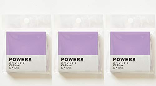 プリントインフォームジャパン gnotes 粘着力と糊面積アップふせん 「POWERS」 60×60mm 【3個セット】 (パープル)