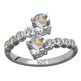 Jugendstil Art Nouveau Ring Echt Sterling Silber 925 Zirkonia Kristalle Liebe Glaube Hoffnung Emotion Symbol Motiv Stil Objekt extravagant neu gut schön modisch weiss klar transparent