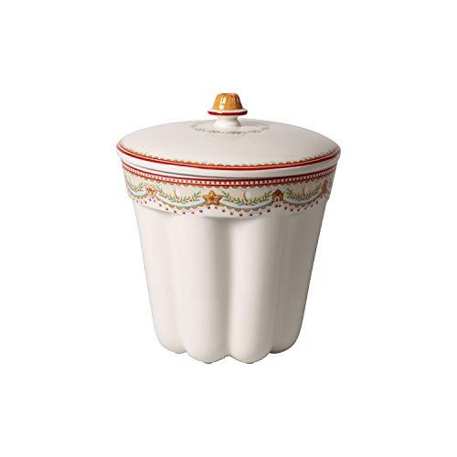 Villeroy & Boch Winter Bakery Delight Dose Gugelhupf, große Gebäckdose aus Premium Porzellan zum Backen und Aufbewahren, weiß, 2300 ml