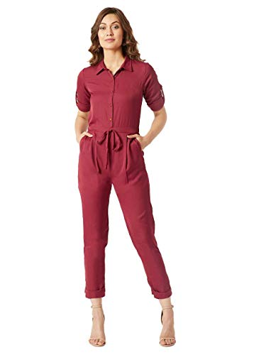 Miss Chase Women's Crepe Jumpsuit(MCAW18D12-09-143-04,Maroon,Medium)