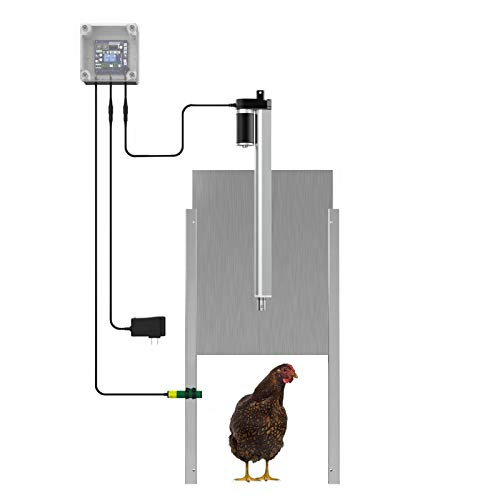 Lovinouse Upgraded Automatic Chicken Door Coop Opener Kit, with Timer Controller, Safety Sensor