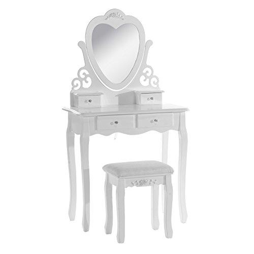 WOLTU Schminktisch Kosmetiktisch Frisiertisch mit Spiegel und Hocker 4 Schubladen MDF und massives Kiefernholz Weiß 74,5 x 138 x 40cm(B x H x T) MB6025cm