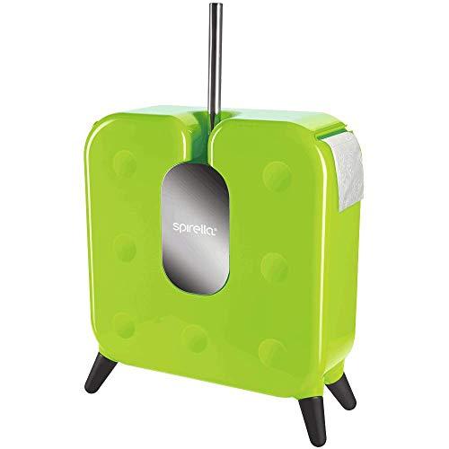 Spirella Cube Design WC Bürste Garnitur mit Rollenhalter und Aufbewahrung für 7 Ersatzrollen Grün