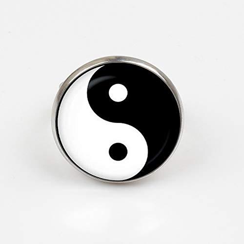 Anillo de tatuaje de Yin Yang, vintage, hecho a mano, de plata
