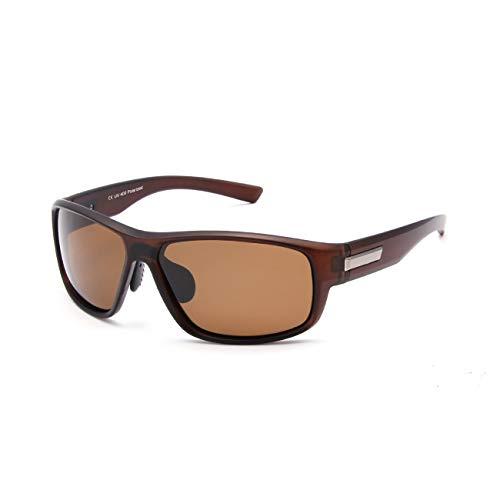 Gafas de sol polarizadas para hombre, estilo retro, unisex, rectangulares, ultraligeras, protección UV400 Marrón Brown Lens M