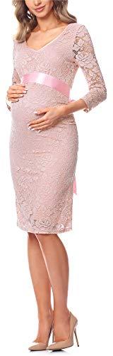 Be Mammy Damen Umstandskleid Maternity Schwangerschaftskleid BE20-170 (Puderrosa, M)
