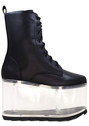 YRU Qloud Ultra Platform Boots - Black - Rave, Goth, EDM, Festival (Numeric_9)