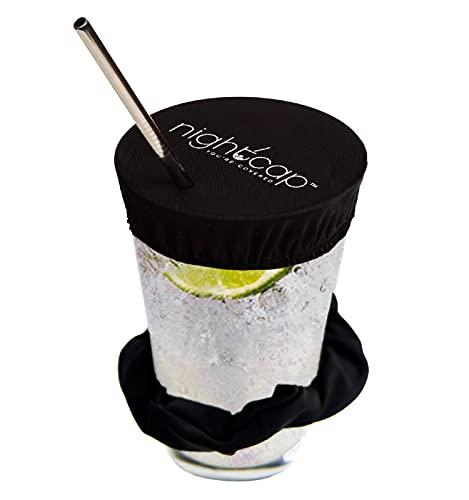 NightCap Drink Cover Scrunchie, 2 Pack- The Drink Spiking Prevention Scrunchie As Seen on Shark Tank- Black