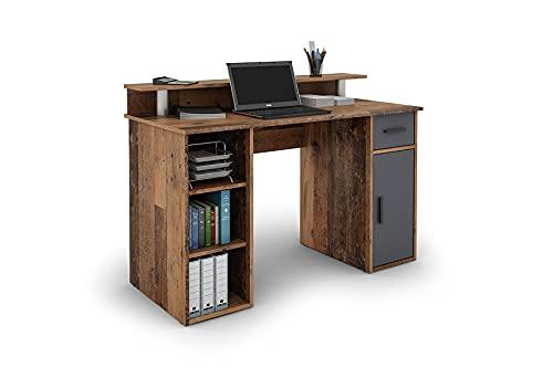 byLIVING Diego 01 Schreibtisch mit pflegeleichter Melamin Oberfläche in Old Style Optik, Tür und Schublade in anthrazit. mit Aufsatz, Holzwerkstoff Spanplatte, braun, B 120, H 88, T 55 cm