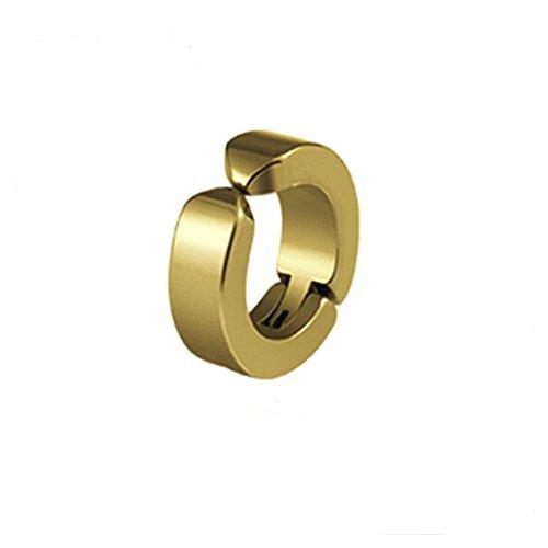 Hombres Mujeres Titanio Acero Redondo Pequeño No Perforado Ear Cuff Clip Joyas(Oro)