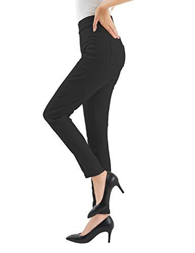 [Amazon限定ブランド] レディース パンツ 美脚 細見え ストレッチ スキニー レギパン ロング クロップド 黒 白 オリーブ ベージュ スモークピンク S/M/L/LL/3L (黒, M)