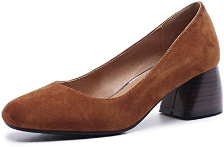 MENGLTX High Heels Sandalen Fedona Elegante Frauen Schlüpfen Auf Grundpumpen Runde Kappe Aus Echtem Leder Mode Hochzeit Schuhe Frau High Heels Büropumpen