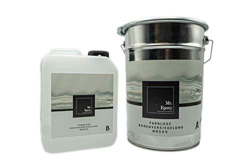 Mr. Epoxy Bodenbeschichtung aus 2k Epoxidharz zur Verwendung als Garagenfarbe, Kellerfarbe, Industriefarbe 10 kg, Farblos/Transparent