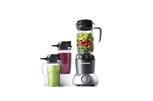 Nutribullet Select 2.0 - Mixer compatto e molto potente da 1000 Watt, set da 10 pezzi, estrattore nutriente per smoothie maker - Coperchio ventilato - Grigio Antracite - Senza BPA