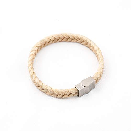 crintiff - Bracelet Femme en CRIN de Cheval Fait Main - Collection Groom - De 18 a 19 cm - Tressé Epi - Couleur Blanc Ecru