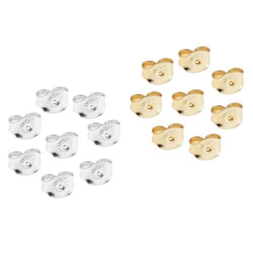 Colcolo 16PCS 925 Pendientes de Fricción de Seguridad de Plata Esterlina Tapones para Los Oídos Tuercas