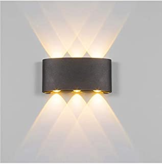LED Wall Light Outdoor 6W Waterproof Nordic style Indoor Wall Lamps Living Room Porch Garden Lamp black body Warm white color