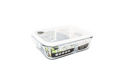 PEBBLY - PKV1300SRB - Boite de conservation en verre rectangulaire compartimentée 580 ml pour cuire, conserver, transporter et réchauffer - 100% hermétique - idéal lunchbox
