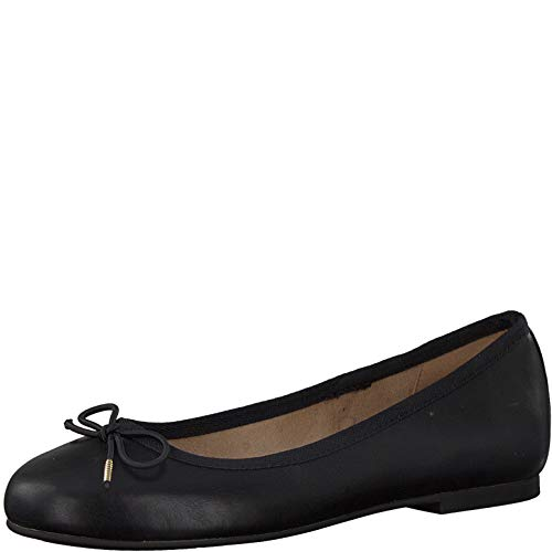 Tamaris Damen Ballerinas 22101-24, Frauen KlassischeBallerinas, elegant Schleife Freizeit weibliche Lady Ladies Women,Black MATT,40 EU / 6.5 UK