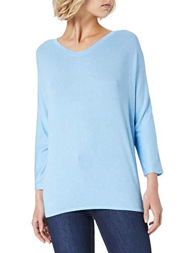 TOM TAILOR Damen 1024046 Batwing T-Shirt, 25368-Soft Cloud Blue Melangé, M