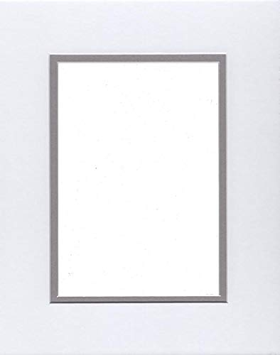 24x36 Double Acid Free White Core Picture Mats Cut for 20x30 Pictures in White and Ocean Grey