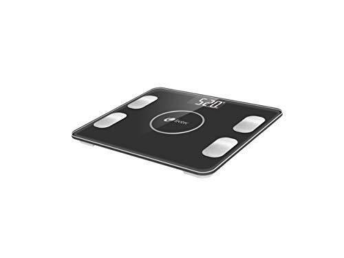 LEOTEC BASCULA Baño Bluetooth Black Smart Fitness (medicion Diferentes masas corporales y Compatible iOS & Android)