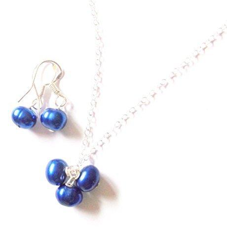 Color azul conjunto de colgante, caja de regalo gratis y gastos de envío