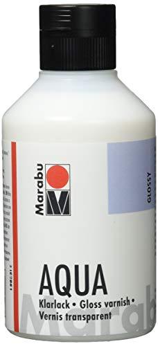 Marabu 11350013000 - Farbloser aqua Klarlack, transparent - hochglänzender Acryl - Lack auf Wasserbasis, für Hobby und Freizeit, zum Lackieren vieler Bastelarbeiten und Materialien, 250 ml Flasche