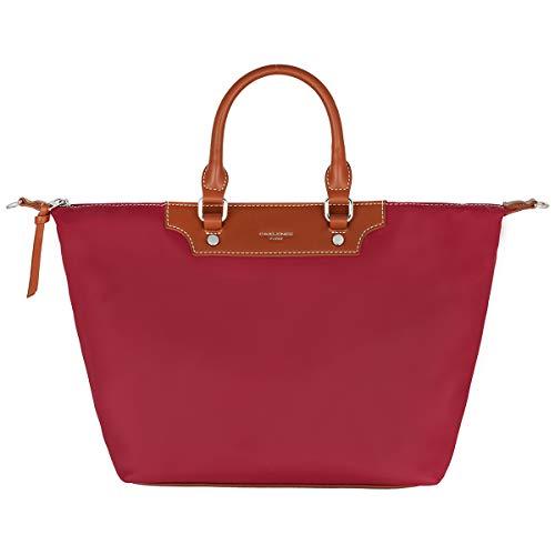 David Jones - Bolso Tote Nylon Mujer - Shopper Nailon Impermeable - Bolso de Mano Plegable - Bolso de Hombro Bandolera Gran Capacidad - Totalizador Shopping Bag - Viaje Playa Comprar Moda - Rojo