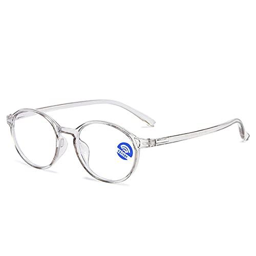 HAOXUAN Gafas de Lectura Gafas de Montura Redonda de Moda Lector de computadora Anti Dolor de Cabeza y tensión en los Ojos Gafas Unisex Dioptrías +1,00 a +3,00,Gris,+2.00