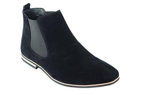 Xposed Herren Wildleder Chelsea Stiefel Italienisch Stil Smart Casual Retro Knöchelschuhe, Gr.-UK 11.5/ EU 46, Schwarz