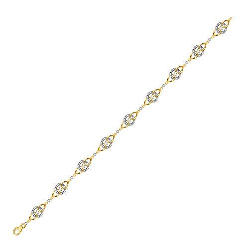 Pulsera de oro amarillo de 10 quilates con diamantes redondos y círculo de 1/2 quilates para mujer