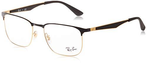 Ray-Ban unisex adult Rx6363 Metal Prescription Eyeglass Frames, Black on Gold/Demo Lens, 54 mm US