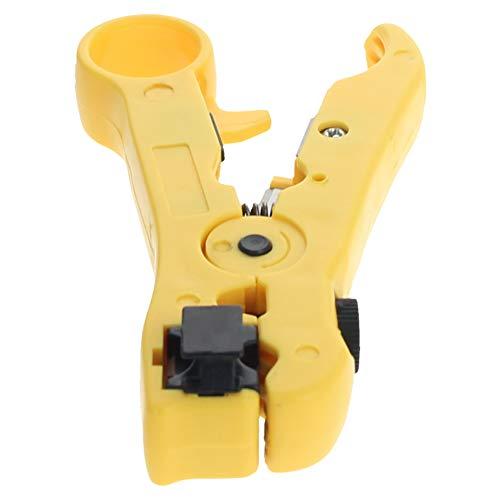 Heyiarbeit ワイヤーストリッパー パワーペンチ ワイヤーカッター ニッパー ボルトカッター搭載 多機能 コンビネーションプライヤー 電工 同軸ストリッパーワイヤーストリッパー 電線 配線作業 家庭修理 炭素鋼 MT-505黄 袋入りパッケージ 1