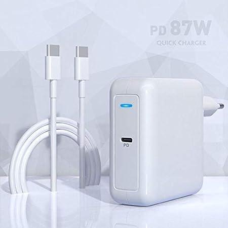 Cargador Compatible con Mac Book Pro 87W, Adaptador de Corriente con 2 M USB-C a USB-C AC Cable, Tipo C PD Wall Charger para Compatible con Samsung, Nexus, Nintendo Switch, Lenovo, ASUS, Acer, DELL