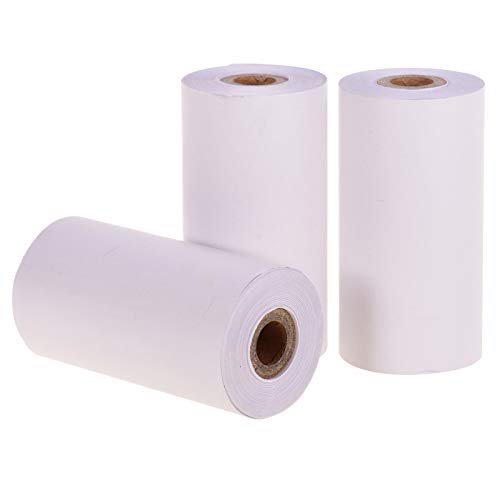 Aibecy Thermal Paper Roll 3 Rolls, White Blank, Long-Lasting 10-Years, BPA-Free 57 * 30mm(2.17 * 1.18in) Compatible with Poooli Thermal Printer