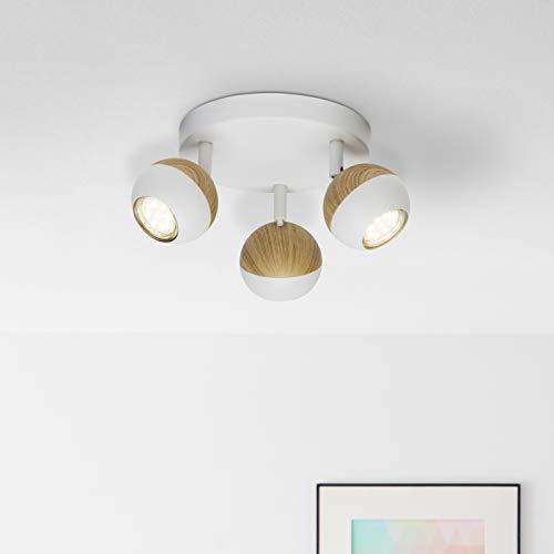 LED Spotrondell, 3-flammig, 3x 3W LED-Reflektorlampen inklusive, 3x 250 Lumen, 3000K, Metall, weiß/holz hell