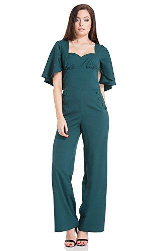 Vodoo Vixen Damen Overall Esmeralda Cape Sleeve Jumpsuit Grün S