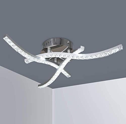 Plafoniera LED Soffitto, Lampada da Soffitto in Cristallo, Lampadari LED Moderno da 18W, Bianco Freddo 6.000K, 1.440 Lumen, Lampadario Soffitto per Soggiorno, Camera da Letto e Corridoi
