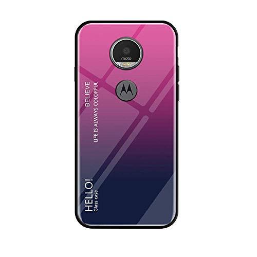 BestCatgift Glare Series Moto G6 Play Phone Cover Accessories [Glass Shell][Gradient Custodia] Bumper Shockproof per Motorola Moto G6 Play - Rose-Gray