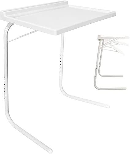 Mesa Auxiliar Plegable con Ranura para Tablet/móvil, Color Blanco, Medidas: 50 x 40 x 8 cm. Altura de Las Patas: Extendible de 60-75 cm. SOPORTA hasta 25 Kilos. 6 Niveles y 3 ángulos de Ajuste.