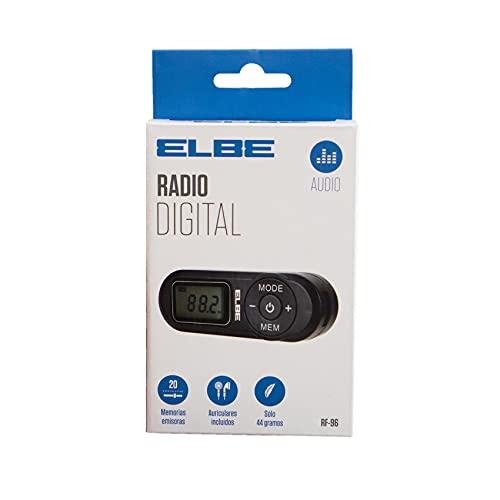 Elbe RF-96 Radio de Bolsillo Digital FM, Búsqueda automática o Manual de emisoras, Auriculares Stereo incluidos, Dispone de Correa para Colgar al Cuello, Negro