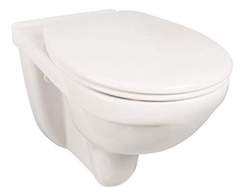 Villeroy & Boch O.novo Vita 4695R001, spülrandloses Wand-WC + 6 cm erhöht, barrierefreie Toilette mit Sitzkomfort, Tiefspüler in Weiß, Hänge-WC aus Sanitär-Keramik, behindertengerechtes WC