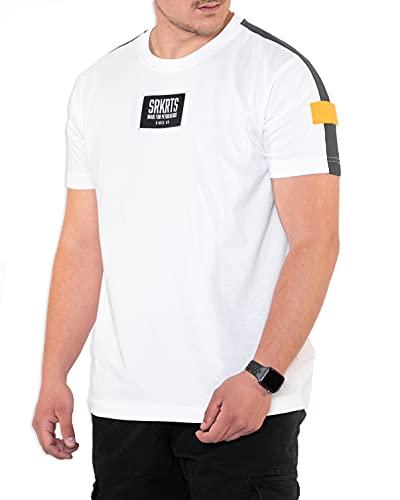 SOURKRAUTS Männer T-Shirt Julian in Größe L | Kurzarm Shirt in Weiß I Herren Shirt mit Stoffeinsätzen