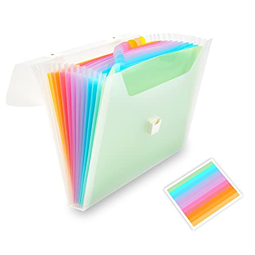 13 Pockets Expanding File Folder with Handle, Waterproof Organizer File Folder at A4/Letter Size, Filing Folders Used for Organizing Bills and Paper Files-WEGAZ